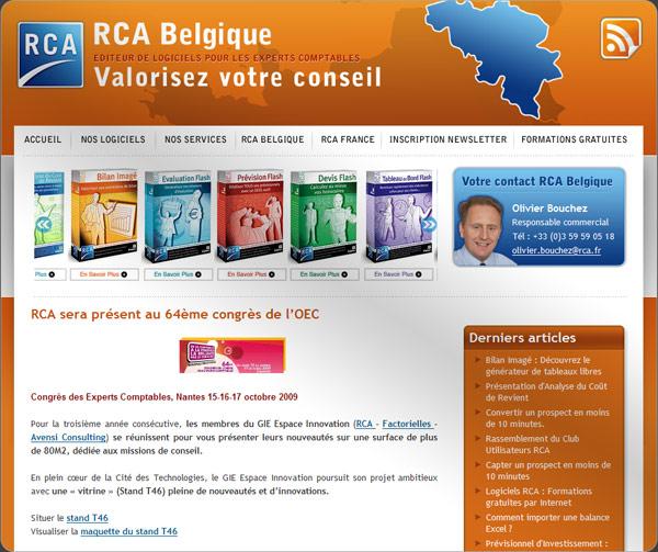 Capture du blog professionnel typepad : RCA Belgique