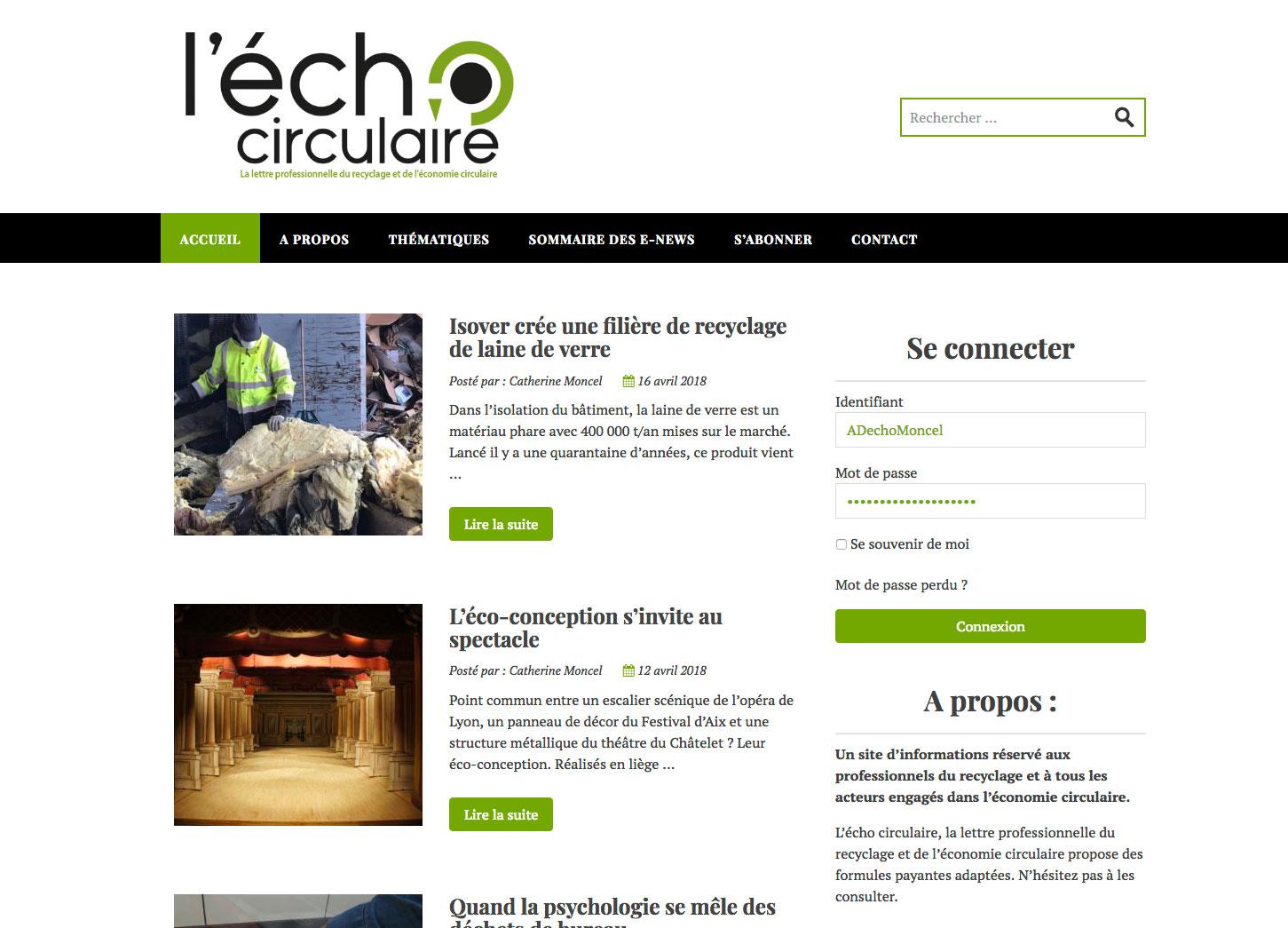 Site internet WordPress : L'écho circulaire